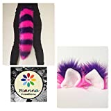 Handmade Cheshire Cat Luxury Costume Set, Soft Faux Fur Thin Striped Hot Pink Purple Tail and Headband Ears, Bianna Creations exclusive design, Halloween Accessories for Adults and Kids