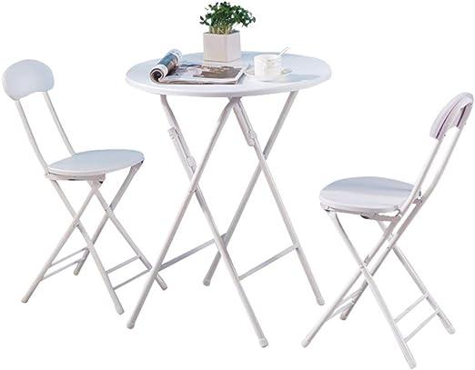 Conemmo Mesa de Comedor Plegable pequeña Redonda para 2 Personas, Puede almacenar una Mesa Simple para Comer al Aire Libre y sillas de Mesa Redonda Simple: Amazon.es: Hogar