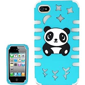 GLOW PC/SC Panda Bear 3D Design Case Cover For iPhone 4/4s - Baby Blue/Clear Panda