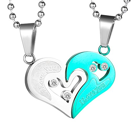 2256bdd207 Galleon - GAGAFEEL His Hers Couple Necklace Stainless Steel Pendant Heart  CZ Puzzle Matching Set I Love You In Gift Box (Green&Silver)