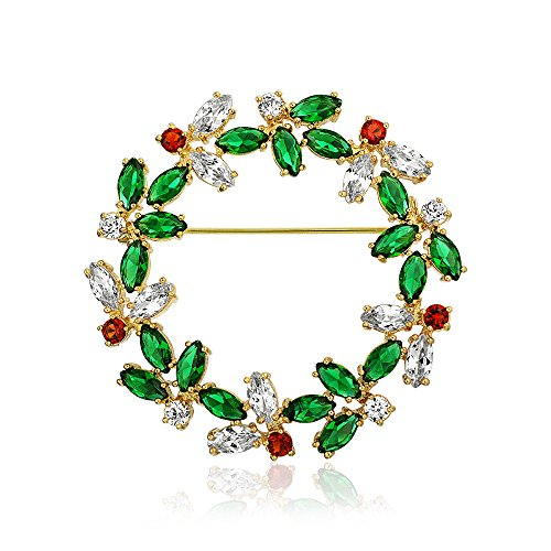 Bling Jewelry Marquise Cubic Zirconia CZ Green Red Fashion Christmas Holiday Round Wreath Brooch Pin for Women 14K Gold Plated Brass (Christmas Wreath Pin)