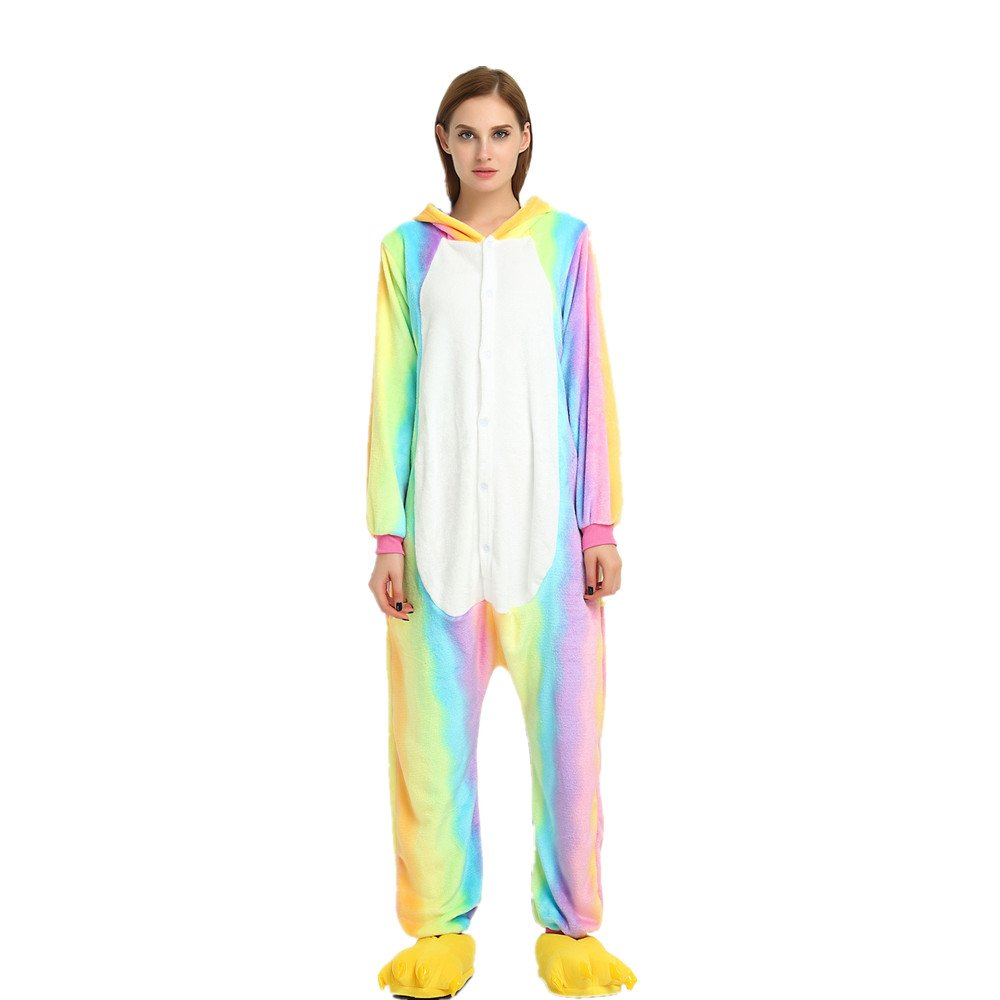 Colorfulworld Kigurumi Pijamas Unicorn Cosplay Adulto Animal Pyjamas Trajes de Noche Halloween (XL, ...