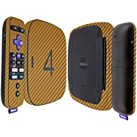 Skinomi TechSkin - Roku 4 Gold Carbon Fiber Full Body Skin / Front & Back Wrap Clear Film / Ultra HD and Anti-Bubble Invisible Shield