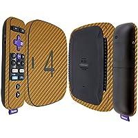 Skinomi TechSkin - Roku 4 Gold Carbon Fiber Full Body Skin / Front & Back Wrap Clear Film / Ultra HD and Anti-Bubble Invisible Shield