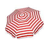 Heininger 1324 DestinationGear Italian Red and White 6′ Acrylic Striped Beach Pole Umbrella For Sale