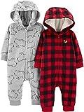 Simple Joys by Carter's Boys' 2-Pack Neutral Fleece Hooded Jumpsuits, Buffalo Plaid/Grey Bears, 24 Months