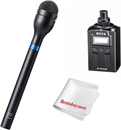 BOYA BY-HM100 Handheld Dynamic Microphone Mic Omni-Directional XLR Connector Body Extra Long Handle for ENG Interview Presentation Recording with Cleaning Cloth