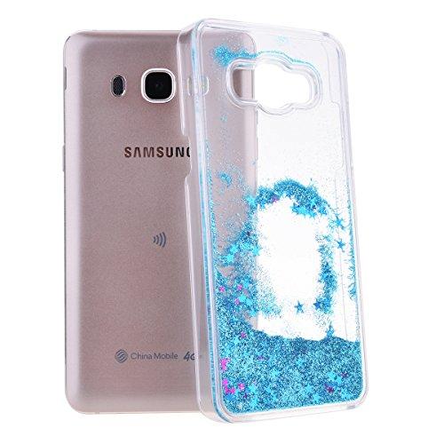 We Love Case Bling Bling Funda para Samsung Galaxy J5 2016 Glitter Estrellas Lentejuelas Líquido Arenas Movedizas Carcasa Plástic Duro Moda Tapa Case Cover Claro Cristal Transparente Cubierta Caja de  Azul Quicksands