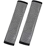 EING Leather Seat Belt Shoulder Pads with Crystal Bling Bling Rhinestones,Universal Size Fit for All Kinds of Car Seatbelt,2PCS