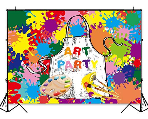 Funnytree 7x5ft Art Paint Party Backdrops Kids Artist Birthday Background Dress for a Mess Painting Splatter Photo Background Graffiti Wall Photography Banner Rainbow Brush Cake Table -