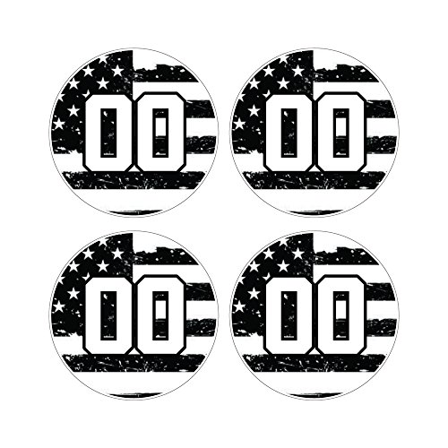 Custom Baseball Bat Decal Set - Black and White USA American Flag Design Bat Knob Sticker
