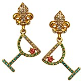 Pave Crystal Margarita Pool Party with Fleur-de-Lis Earrings (Goldtone) Ritzy Couture