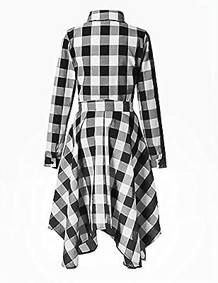 Ebetterr Women's Long Sleeve Plaid Casual Shirt Dress with Pockets