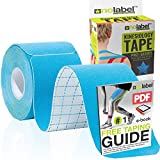 Blue Pre Cut Kinesiology Tape - Pre-Cut Muscle Tape Sports Tape Strapping Kinesio Tape Sports | Pro Tape 5m Medical Tape Roll No Label H20 Tape 20 x Precut Physio Tape Muscles Strips | FREE PDF Ebook Taping Guide