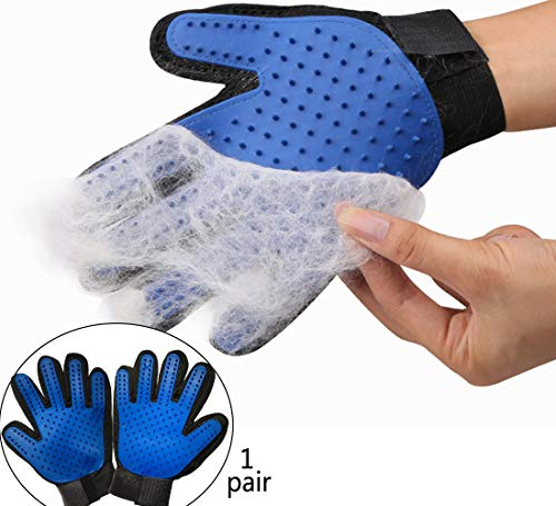 MsSugar [Upgrade Version A Pair pet Grooming Gloves – Gentle Hair Removal Brush Gloves – Efficient pet Hair Remover Gloves – Enhanced Five-Finger Design – Dogs Cats Long Short Fur