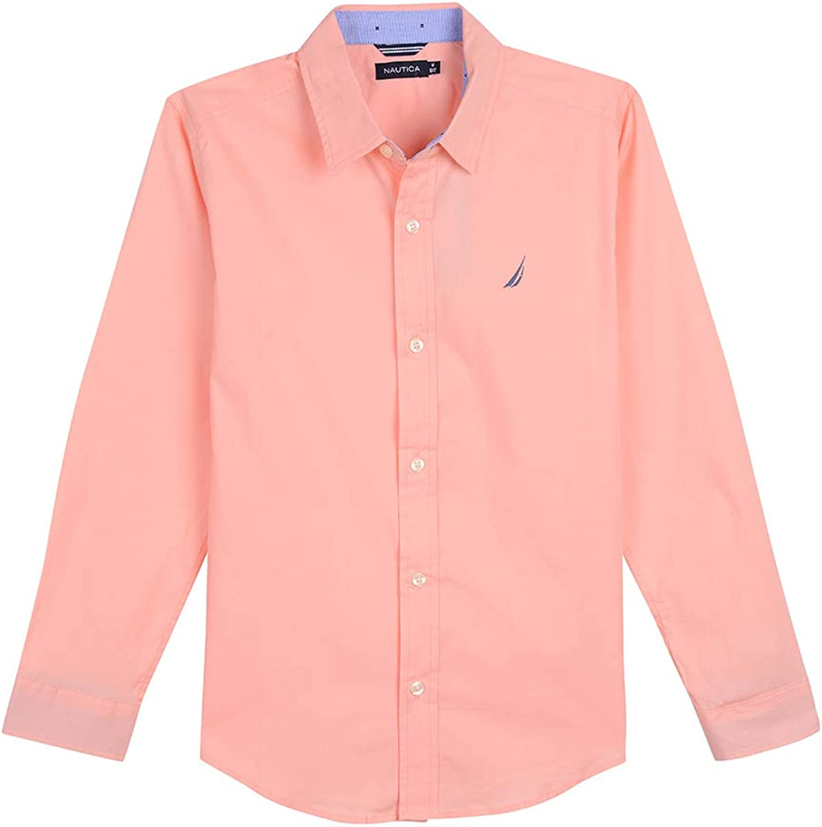 Nautica Boys' Long Sleeve Solid Woven Shirt