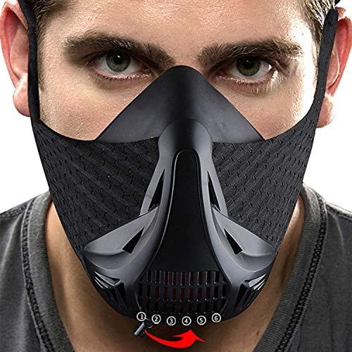 JINSERTA Workout Mask Training Mask High Altitude Running Peak Resistance Breathing Oxygen Sport Fitness Cardio Endurance Gym Jogging Exercise Men Women Elevation Simulation HIIT Trainer [6 Levels] by JINSERTA