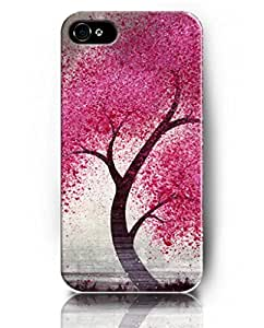 Case for iPhone 5S 5 , UKASE Protective Snap on Case Skin with Elegant Design of Tree with Red Leaves