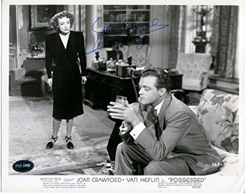 Actress JOAN CRAWFORD Signed Rare Original 1947 Movie POSSESSED Promotional 8x10 Black and White Photograph PSA/DNA Authentic Auto B&W Photo (d.1977) Pictured with Van Heflin Crime Drama Film - Photo B&w 1977