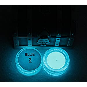 PRESTIGE GLOW IN THE DARK Pigment Powder. Longest Lasting Glow in The Dark Powder. Recommended for All COLORLESS Medium. Ink. Paint. Plastic Resin. Glass. ETC. (1 Ounce, Blue)