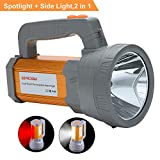 Super Bright Rechargeable LED Spotlight Flashlight High Powered 6000 Lumens CREE Handheld Searchlight Large 18650 Battery 10000mah Long Lasting Waterproof, Side Flood Light Camping Lantern Work Light