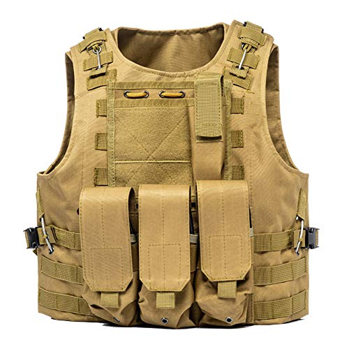 LXY&AI Military Tactical Vest - Army Polyester Air Gun Hunting Combat Vest - Airsoft Paintball Shooting Vest - Detachable Pouch Outdoor Jungle - Black,Mud