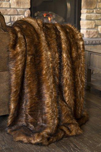 Premium Brown / Orange Grizzly Bear Faux Fur Throw Blanket 50