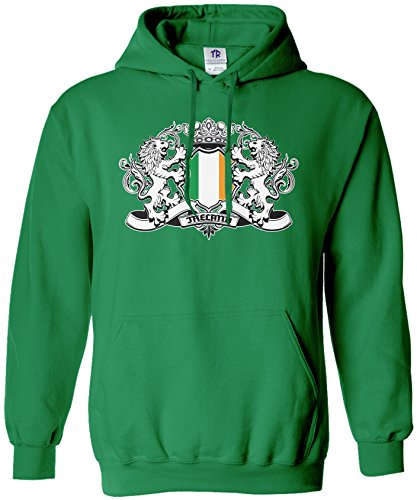 Threadrock Men's Ireland Lion Crest Flag Hoodie Sweatshirt L Kelly Green