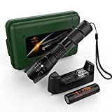 KANGORA Super Bright 5 Light Modes Cree LED Tactical Flashlight Bundle with Rechargeable Battery and Charger, Brightest Torch Lights for Outdoor Sport Camping