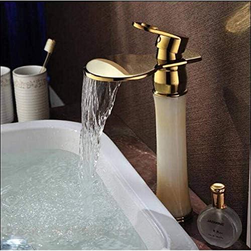 Zxyan 蛇口 立体水栓 水タップキッチン洗面器のミキサーの滝の蛇口ゴールドブラス&ジェイド流域の蛇口ホットとコールド流域ミキサートールバスルームのシンクの蛇口のミキサーのタップ トイレ/キッチン用