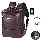 Videng Polo Business Backpack with USB Charging Port and Headphone Interface,Water Resistant Microfiber Leather Laptop Bag fit for 15 inch,Anti-Theft School Bookbag for College Travel (SU1-Brown)