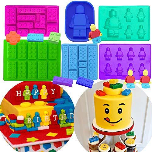 Set of 6 JeVenis Robot Molds Building Bricks Silicone Molds Building Blocks and Robots Mold -