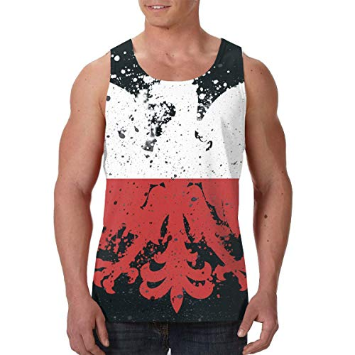 Men's Print Graphic Tank Tops Polish Flag Eagle Sports Workout Tees Black ()