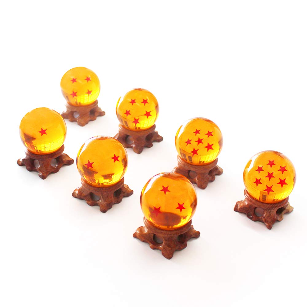 FleurVC 7 pcs Large Star Ball Set with 7pcs Pure Hand-Made Wooden Ball Holders -Red Stars Amber Color Transparent Play Balls(2.3inch)