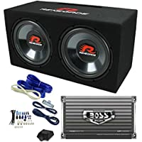 Renegade RXV1202 12 1200W Dual Car Subwoofers + Box + 1500W Mono Amp + Amp Kit