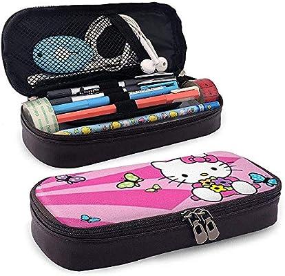 Estuche de lápices de cuero Anime Hello Kitty Estuche de bolígrafo dulce rosa Funda de bolsa Papelería Bolsa de maquillaje cosmético: Amazon.es: Oficina y papelería
