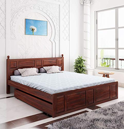 Home Edge Sheesham Wood Joplin Queen Drawer Storage Bed Mahogany