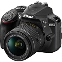 Nikon D3400 24.2 MP DSLR Camera (Black) with AF-P DX NIKKOR 18-55mm f/3.5-5.6G VR Lens Bundle includes 64GB Memory + Filters + Deluxe Bag + Professional Accessories (25 Items) by Nikon