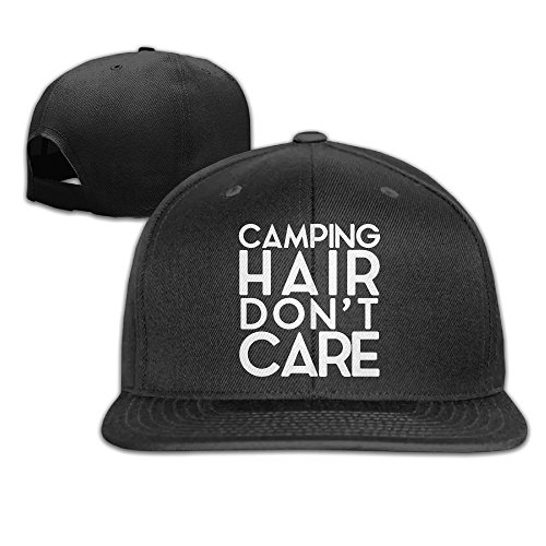 WilliamKL Camping Hair Don't Care Flat Bill Snapback Adjustable Ball Hat - Orlando Airport Shopping