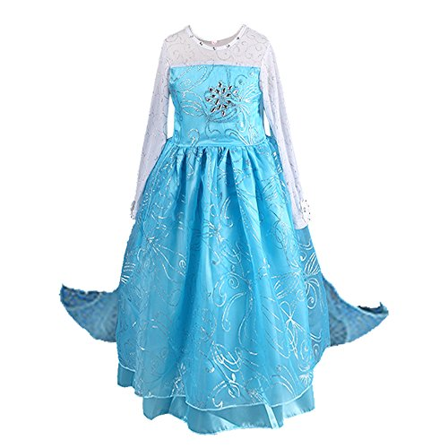 Anbelarui Girls New Princess Party Cosplay Costume Long Dress Up 3-9 Years (9 Years, 02 Dress) ()