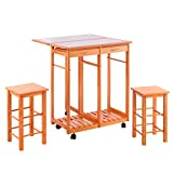 Kitchen Island Table with Stools Costzon Kitchen Trolley Island Cart Dining Storage Tile Top with Drawers & 2 Stools