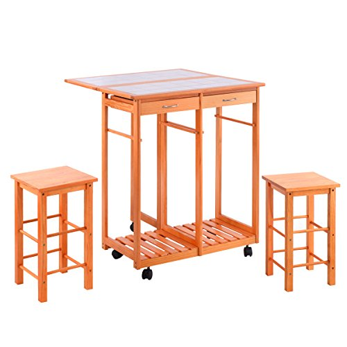 Costzon Kitchen Trolley Island Cart Dining Storage Tile Top with Drawers & 2 Stools