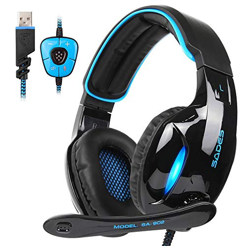 BIYATE Gaming Headset for Xbox One/PS4 Controller, PC, Wired 7.1 Surround Sound Gaming Headphones with Noise Cancelling Mic, Headset for Nintendo Switch/3DS, Mac, Destop Computer Games