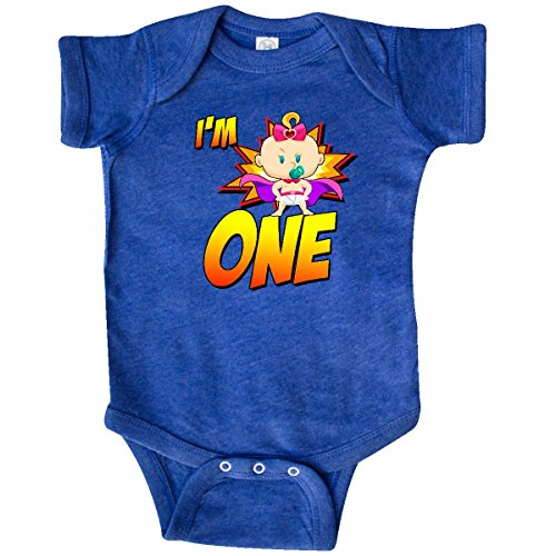 inktastic - I'm One Superhero Infant Creeper 6 Months Retro Heather Royal 302a8 ()