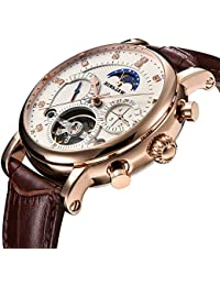 Men Tourbillon Automatic Mechanical Watch Luxury Brand Leather Fashion Casual Stainless Steel Sports Watches for...