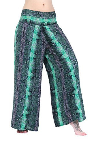 gamba con a Green pieghe larga Pantaloni Haream Paisley xqZwRZa