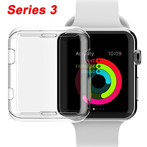 NSR Compatible Apple Watch Series 3 38mm Case, iWatch TPU Screen Protector All-around 0.3mm Ultra-thin HD Clear Cover for New Apple Watch Series 3 38mm (2017)