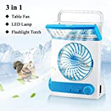 LIANGUS 3-in-1 Solar Fan Portable Cooling Fan with Lamp Multi-functional Solar Camping Fan Flashlight Torch Eye-Care LED Table Lamp for Home Office Camping (Blue)