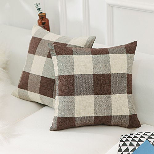 Home Brilliant Buffulo Checker Plaids Farmhouse Tartan Linen Throw Pillow Covers Cushion Cover Brown White Decorative Pillowcases, Set of 2, 18 x 18 inches (Pillows Cheap Throw Colorful)