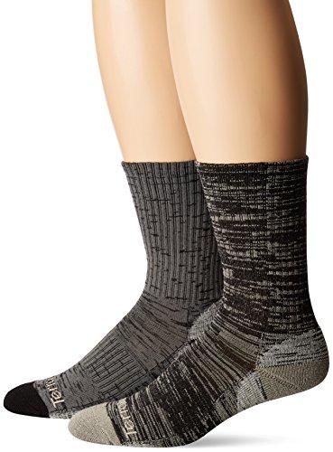 Terramar Performance Outdoor Merino Lite Hiker Crew Socks (Pack of 2), Black/Charcoal, Medium (6-8.5)